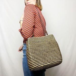 Vintage 90s Straw Striped Shoulder Bag Purse